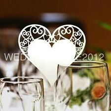 Heart Place Cards Glass Laser Cut on Pearlescent Card 7 Colours, Wedding Party
