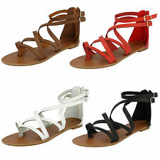 LADIES SPOT ON ANKLE STRAP CROSS OVER BACK ZIP GLADIATOR SUMMER SANDALS F0696