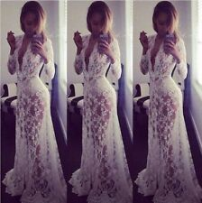 Sexy Women Casual Long Sleeve Evening Party Cocktail Long Maxi Lace Dress White