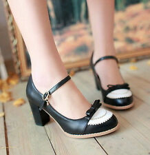 Womens Mary Janes Lolita Bowknot Block Heel Pumps Ankle Strap Shoes Plus Size