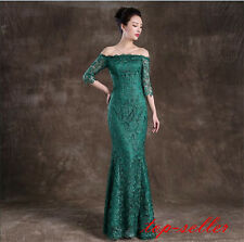 Sexy Party Pageant Evening Dress Prom Gown Women Green Lace Long Sleeve Formal