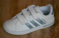 New ADIDAS NEO DERBY II CF K WHITE LEATHER JUNIOR TRAINERS  Size 2 Only Velcro