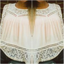 Summer Fashion Women's Sleeveless Casual Tops Blouse Lace Floral Chiffon T-Shirt