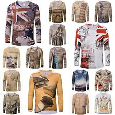 Men Women Summer Long Sleeve V-neck Tee Top Casual Tie-dyed Print T Shirt Blouse