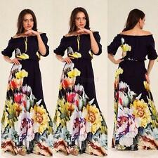 Womens Off Shoulder Dress Half Puff Sleeve Floral Sexy Party Dresse S/M/L/XL/XXL