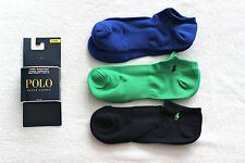 Polo Ralph Lauren Men  navy green blue low profile sport 3-pack socks (3 pairs)
