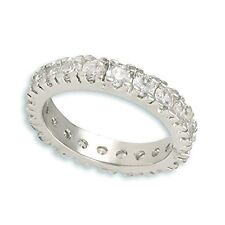 NEW  ALL AROUND PRONG SET STACKABLE ETERNITY CUBIC ZIRCONIA BAND  RING  BRIDAL