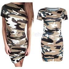 Sexy Laides Round Collar Short Sleeve Camouflage Mini Fashion Dress Army Green