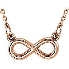 """Tiny Posh Petite 14kt Rose,Yellow or White Gold ~INFINITY~ Necklace 18"""" Chain"""