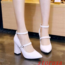 Women Girls Mary Jane Shoes Kitten Heel Ankle Strappy Dress Shoes Pointy Toe New