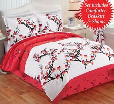 Cherry Blossom Comforter Set Pillow Shams Bed Skirt King 4 pc Bedding Red White