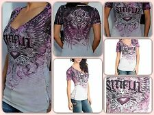 Sinful by Affliction INSATIABLE - Woman's V-Neck Burnout T-Shirt . FREE SHIPPING