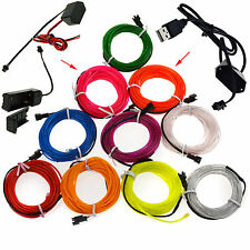 LED Light Glow El Wire String Strip Rope Car Xmas Party + 3V/12V/USB Controller