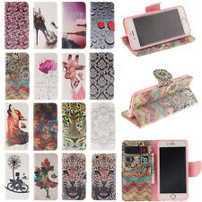 Fashion Flip Paint Wallet Card Slot PU Leather Stand Case For iphone Huawei LG