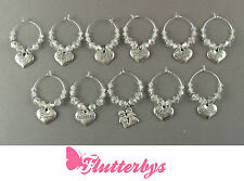 Real Crystal Wedding Wine Glass Charms, Sparkly, Bride/Groom/Bridesmaid & more