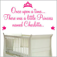 """Personalised """"Once Upon a Time Princess Prince"""" Wall Art Nursery bedroom Sticker"""