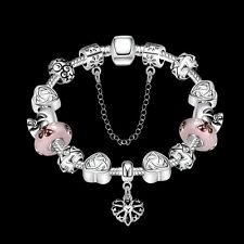 Xmas Gift Womens Beautiful 925Silver Bracelet Beads Heart Charms Bangle Gift