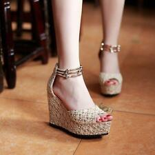 Roman Ankle Strap Womens Lace Peep Toe Wedge Platform Party Casual Sandals Shoes
