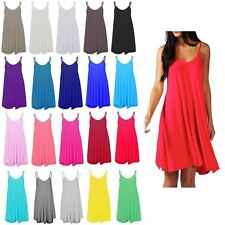 Womens Sleeveless Cami Swing Dress Floaty Flared Strappy Skater Long Top  CmiLng