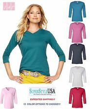 LAT - Ladies' V-Neck T-Shirt with Three-Quarter Sleeves - 3577  S-2XL