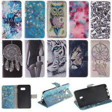 For iphone Samsung Flip Painted PU Leather Wallet Card Holder Stand Case Cover