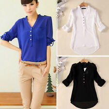 OL Women Spring Summer V-Neck Chiffon Tops Casual Shirt Blouse Office Lady Vogue
