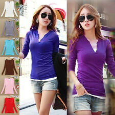 Women's Fashion Sexy V Neck Blouse Slim Casual Bottoming Shirt Long Sleeve Tops