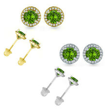 4.5MM Peridot Gem Stone Stud Halo Solitaire Round Earring 14k White/Yellow Gold