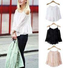Style Sexy Women Summer Off Shoulder Casual Long Sleeve Loose T-Shirt Top Blouse