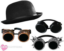 STEAMPUNK GOGGLES + BLACK BOWLER HAT VICTORIAN SCI-FI FANCY DRESS 1800 ACCESSORY