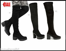 LADIES OVER KNEE BOOTS SIZE BLACK HEEL PLATFORMS SUEDE WOMENS THIGH HIGH NEW
