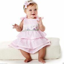 Mud Pie Cottontail Baby Girl Easter Spring Pink Bunny Tiered Smocked Dress 17...