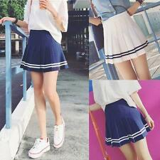 Fashion Women Slim Striped Pleated Mini Short School Skirt High Waist Dress New
