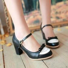 Fashion Womens Ladies High Heel Block Mary Jane New Buckle Bowknot Pumps Shoes