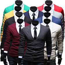 Mens Thin V-Neck Cardigan Knit Slim Fit Button Front Coat Youth Casual Sweater