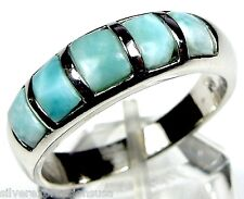 AAA Genuine Dominican Larimar Inlay Solid 925 Sterling Silver Band Ring Sz 6-7