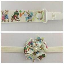 peter rabbit dummy clip headband combo hair bow band clip girls baby party photo
