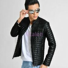 HOT Mens Slim Fit Leather Stand Collar Jacket Coat Overcoats Outwears Grid Check