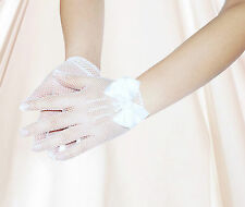 4-16 years Flower Girls White Fishnet Wedding Wrist Gloves First Communion Prom