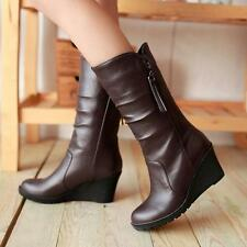 New Womens High Wedge Heel Platform Side Zip Pull On Mid Calf Boots Winter Shoes