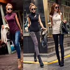 New Fashion Womens Ladies Sexy Sleeveless Turtleneck Stretch T-Shirts Top KECP