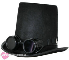 STEAMPUNK TOP HAT AND BLACK GOGGLES GOTHIC SCI FI VICTORIAN FANCY DRESS COSTUME