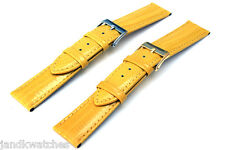 Yellow Genuine Leather Lizard Pattern Watch Strap