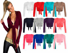 NEW WOMENS LADIES TIE UP CROP SHRUG WRAP BOLERO CARDIGAN TOP UK PLUS SIZE 8-22