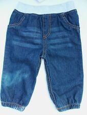 Baby Girls Blue Denim Jeans with Grey Cuff Waist and Elasticated Ankles