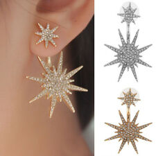 1Pc New Women Gold Crystal Rhinestone Dangle Tone Earrings Star Ear Stud Earring