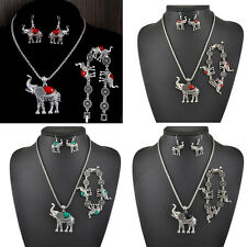 Antique Tibetan Crystal Turquoise Elefant Necklace Bracelet Earring Jewelry Set