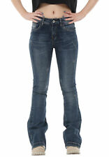 60s 70s Style Faded Vintage Wash Distressed Bootcut Flared Stretch Jeans - Blue
