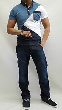 mens new casual blue denim jeans straight fit pockets designer stylish jeans