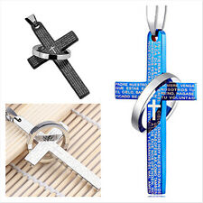 Unisex's Men Women Ring Titanium Steel Cross Bible Pendant Necklace With Chain